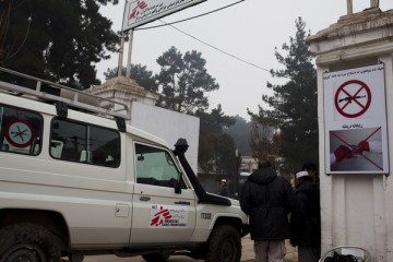 An MSF vehicle enters the front gate of the MSF trauma hospital in Kunduz, northern Afghanistan, November 29, 2011. The MSF hospital opened in August, 2011 and provides surgical care and physical therapy.  It is the only trauma center of its kind in the region.