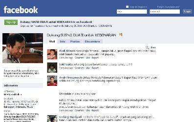 facebook dukungan susno duadji