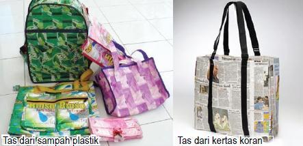 Tas dari sampah plastik & Kertas Koran