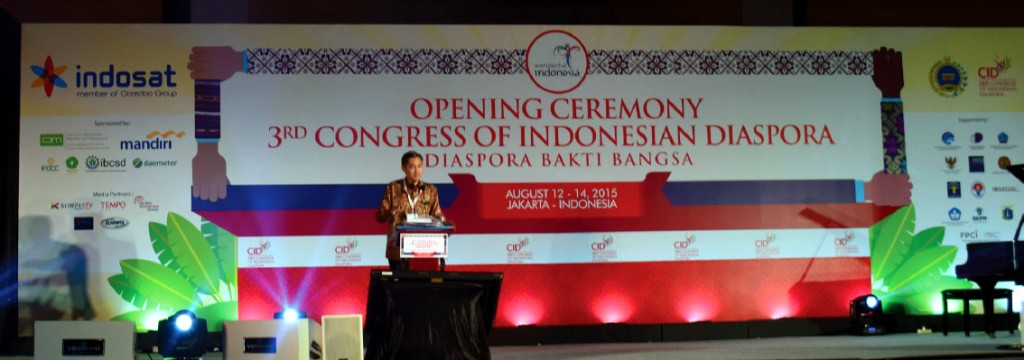 Muhammad Al -Arif, Ketua Indonesian Diaspora Network (IDN) pada pembukaan Kongres Diaspora ke-3 di Jakarta